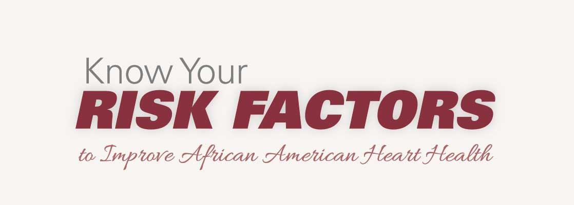 Image saying 'Know your risk factors to impove African American Heart Health.'