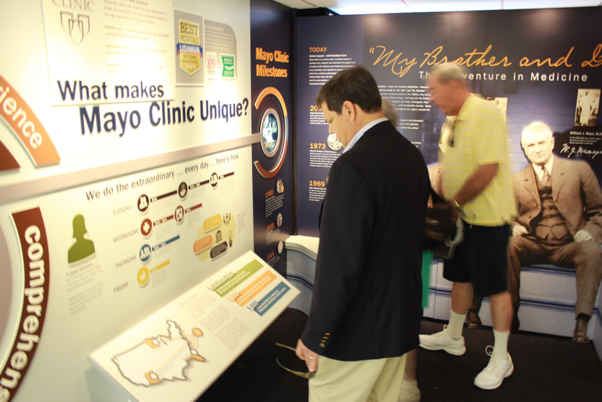 Mayo Clinic Truck exhibit displaying what makes Mayo Clinic unique at Baptist Health Care Medical Towers.