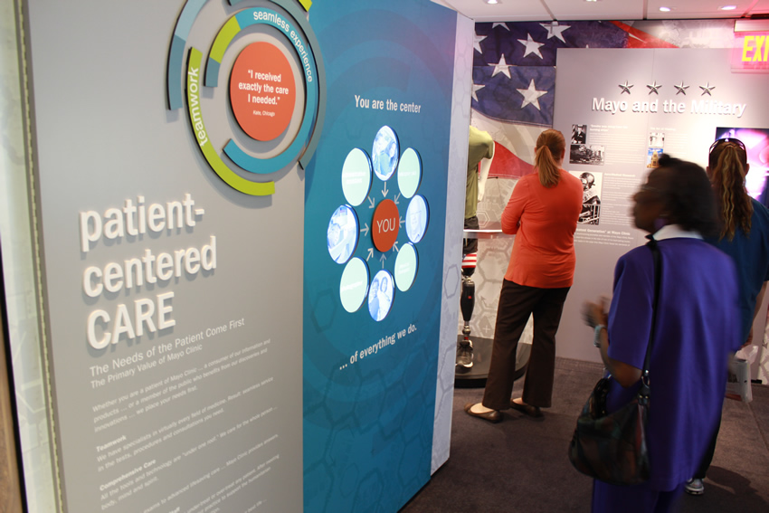 Patient-Centered CARE exhibit inside Mayo Clinic Truck exhibit at Baptist Health Care Medical Towers.