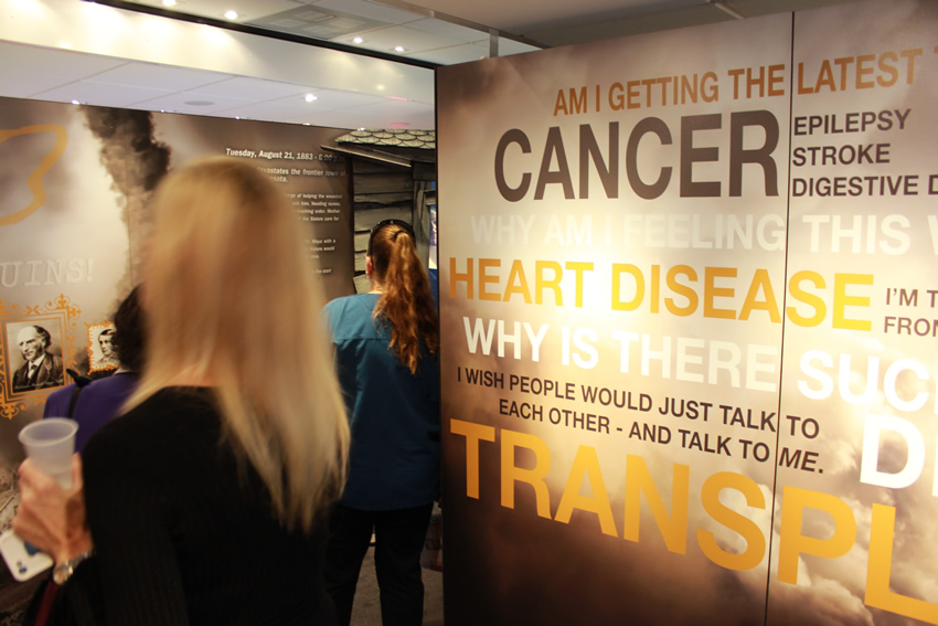 Visitors entering the Mayo Clinic Truck at Baptist Health Care Medical Towers.